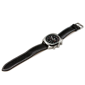 BLACK AND SILVER CHRONO LMP (BLACK STRAP)