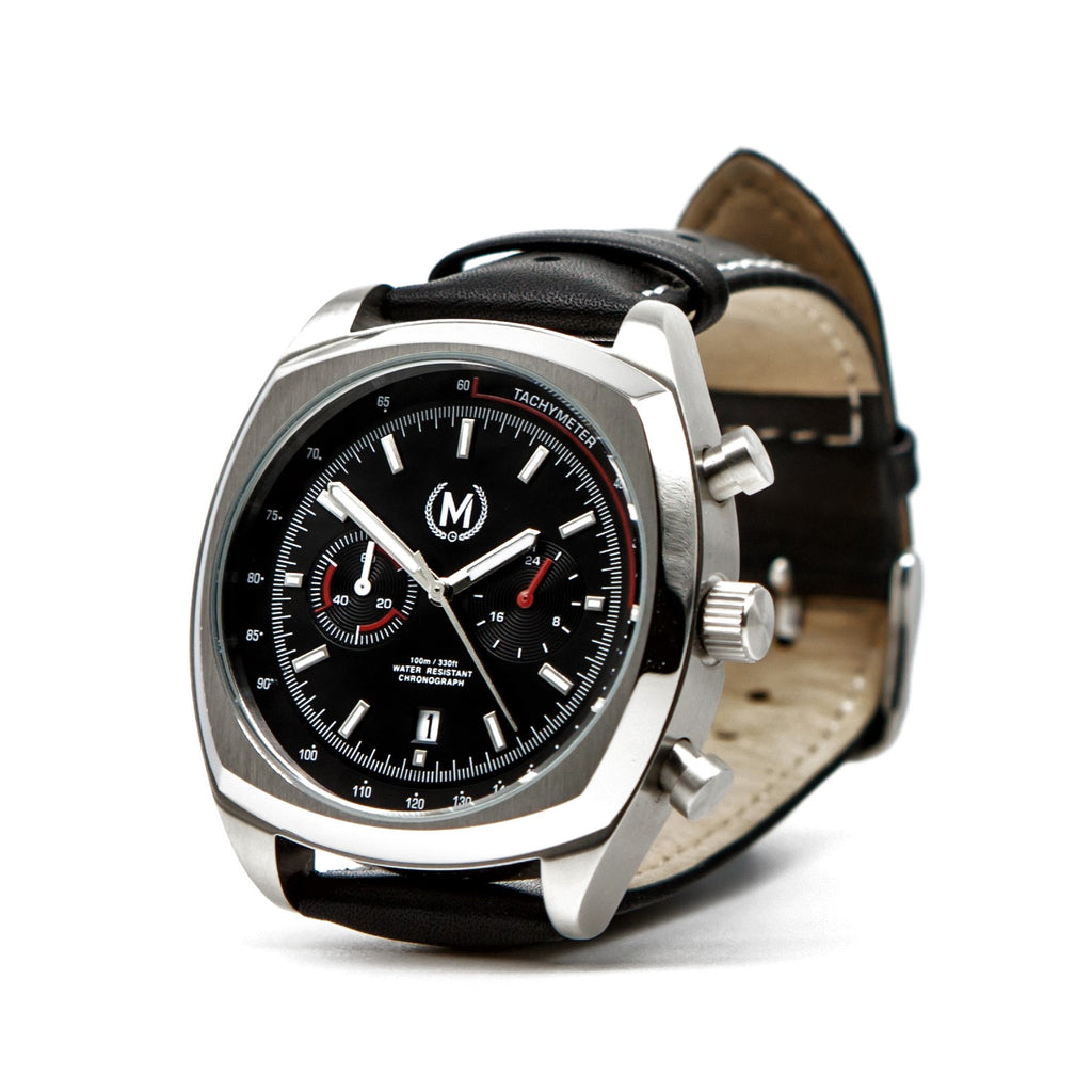 CLASSIC DRIVER CHRONOGRAPH, BLACK AND RED STRAP - Marchand Watch Company