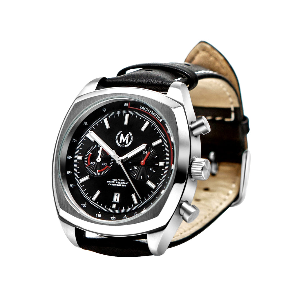 CLASSIC DRIVER CHRONO, BLACK STRAP - Marchand Watch Company