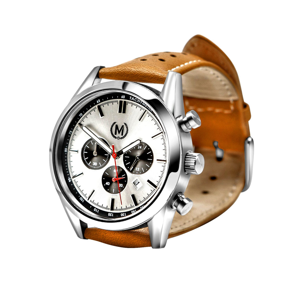 TOURER CHRONOGRAPH MK2, TAN STRAP - Marchand Watch Company