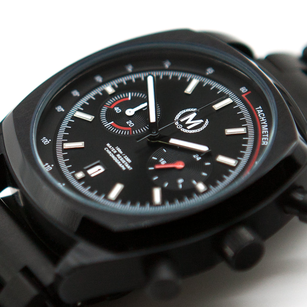 BLACK DRIVER CHRONO, METAL STRAP - Marchand Watch Company