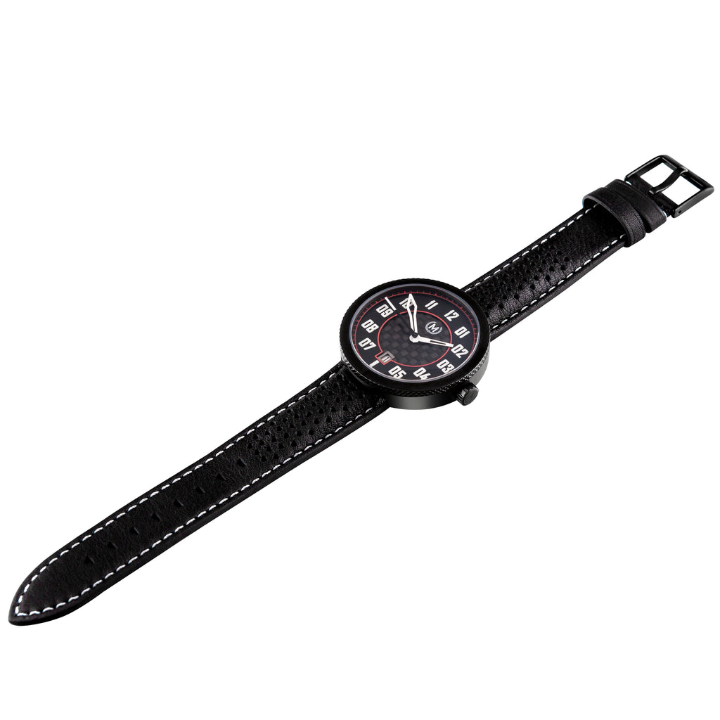 motorsport watch a stunning automatic wristwatch in black and carbon fibre, great watch for car enthusiasts