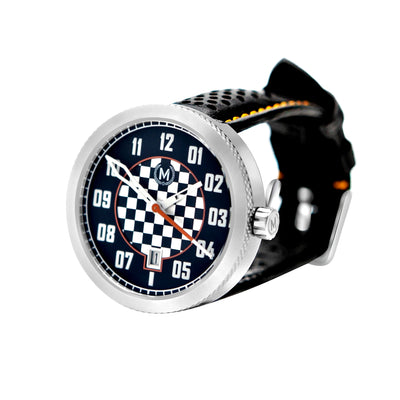 Chequered race dial automatic wrist watch, leather watch strap, motorsport watch