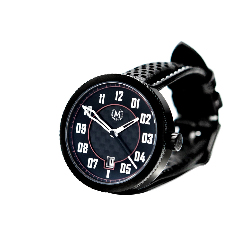 automatic watch movement with carbon dial, black case and luminous numerals, the best mens watches