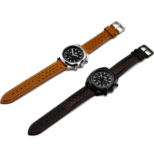 BLACK AND SILVER CHRONO LMP (TAN STRAP)