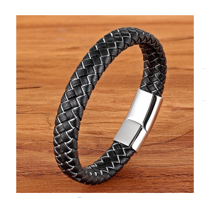 BLACK AND SILVER LEATHER BRACELET, 21CM - Marchand Watch Company