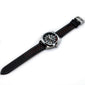 BLACK AND RED LEATHER RALLY WATCH STRAP, SILVER BUCKLE - Marchand Watch Company