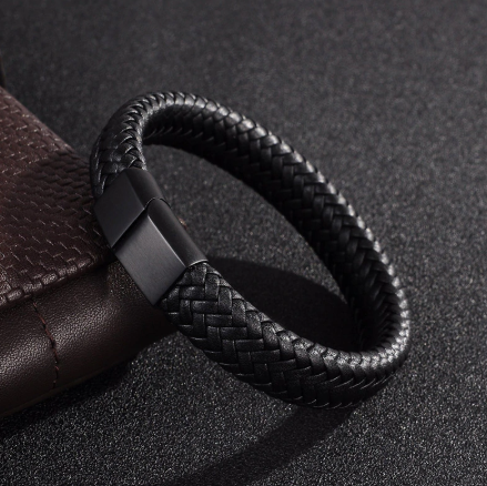 BLACK BRAIDED LEATHER BRACELET (20.5CM) - Marchand Watch Company