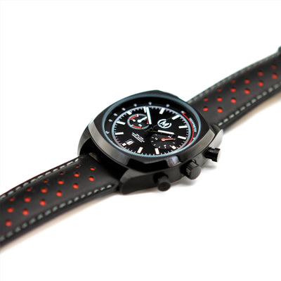 BLACK AND RED LEATHER RALLY WATCH STRAP, BLACK BUCKLE - Marchand Watch Company