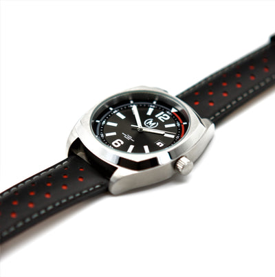 BLACK AND RED LEATHER RALLY WATCH STRAP - Marchand Watch Company