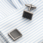 CARBON FIBRE SQAURE MEN'S CUFF LINKS