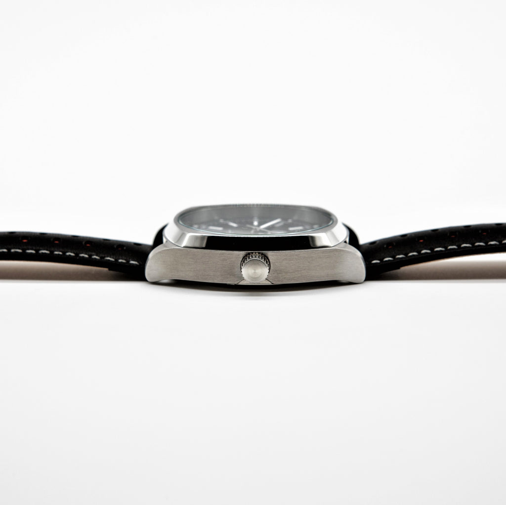 SILVER DRIVER, BLACK STRAP - Marchand Watch Company
