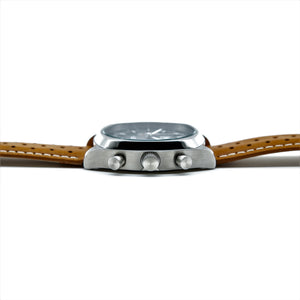 BLACK AND SILVER LMP CHRONO, TAN STRAP