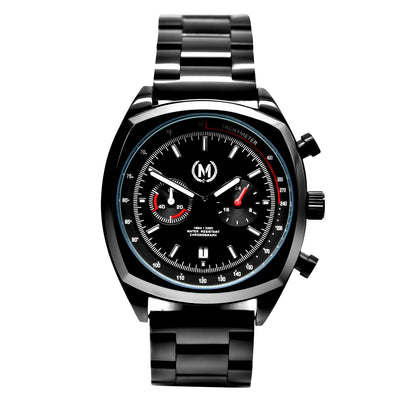 BLACK DRIVER CHRONOGRAPH, METAL STRAP - Marchand Watch Company