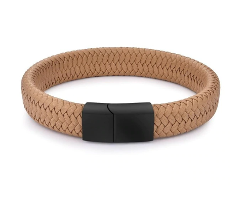 KHAKI BRAIDED LEATHER BRACELET, BLACK CLASP (20.5CM) - Marchand Watch Company