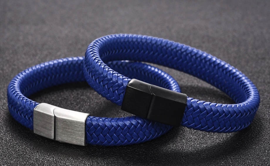 BLUE BRAIDED LEATHER BRACELET, SILVER CLASP (20.5CM) - Marchand Watch Company