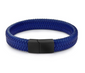 BLUE BRAIDED LEATHER BRACELET, BLACK CLASP (20.5CM) - Marchand Watch Company