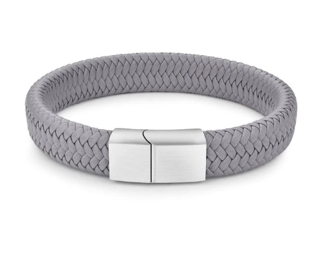GREY BRAIDED LEATHER BRACELET, SILVER CLASP (20.5CM) - Marchand Watch Company