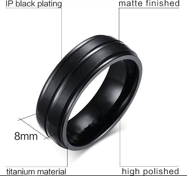 BLACK 100% TITANIUM MEN'S RING - Marchand Watch Company
