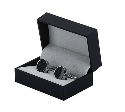 SILVER AND CARBON FIBRE ROUND CUFF LINKS FOR MEN - Marchand Watch Company