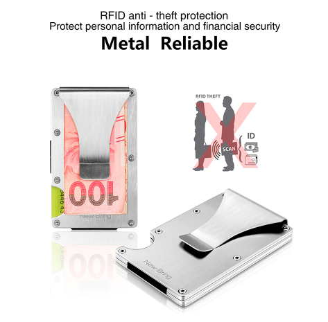 NewBring Slim Metal Credit Card Holder With RFID Anti-chief Travel Mini Wallet Man for rfid wallet