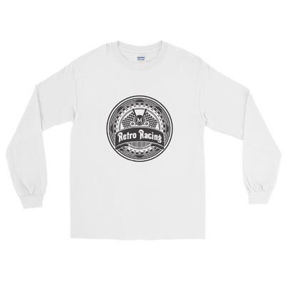 RETRO RACING MEN'S LONG SLEEVE T-SHIRT, WHITE