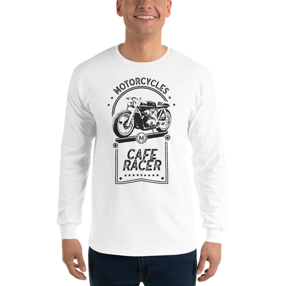 CAFE RACER MEN'S LONG SLEEVE T-SHIRT, WHITE