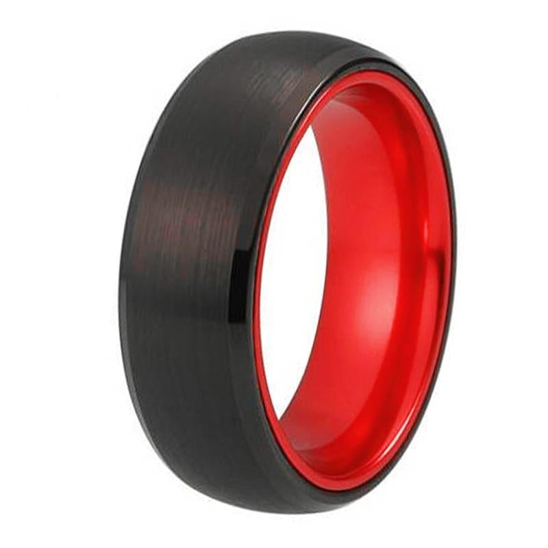 MEN'S TUNGSTEN BLACK WITH RED ALUMINUM RING