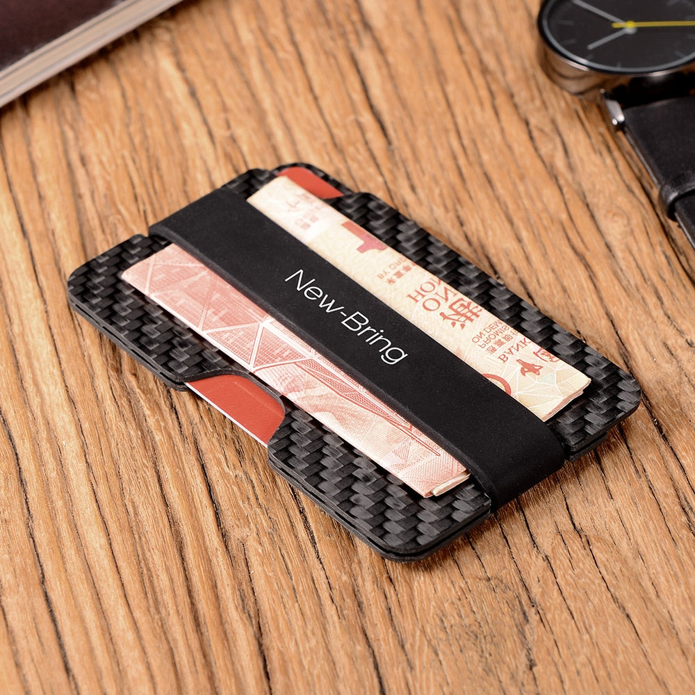 COMPACT CARBON FIBRE MONEY CLIP CARD SLEEVE HOLDER WITH RFID ANTI-THEFT BLOCKING - Marchand Watch Company