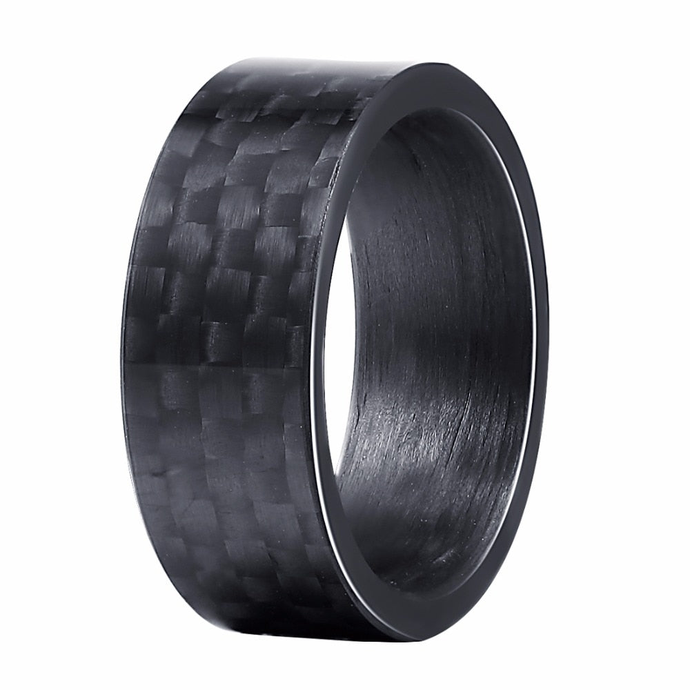 MEN'S 8MM BLACK SMOOTH PURE CARBON FIBRE RING, SIZE 7 -13.5