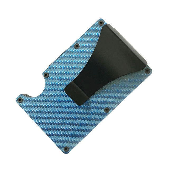 REAL 3K GENUINE CARBON FIBRE RFID BLOCKING WALLET CARD HOLDER WITH MONEY CLIP