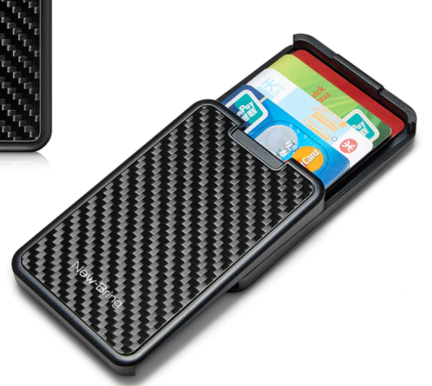SLIDING CARBON FIBRE EFFECT CARD HOLDER WALLET WITH RFID BLOCKING SECURITY - Marchand Watch Company