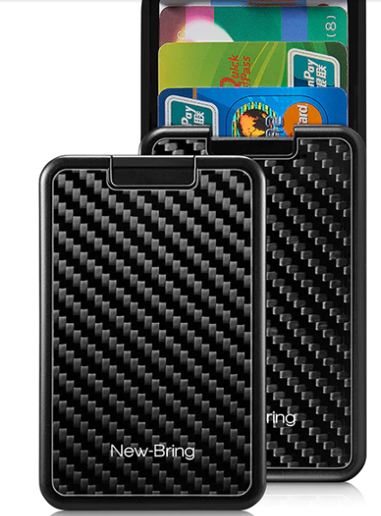 SLIDING CARBON FIBRE EFFECT CARD HOLDER WALLET WITH RFID BLOCKING SECURITY