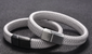 GREY BRAIDED LEATHER BRACELET, BLACK CLASP (20.5CM) - Marchand Watch Company