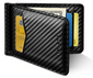 BLACK CARBON FIBRE STYLE MONEY CLIP RFID BLOCKING WALLET CARD HOLDER - Marchand Watch Company