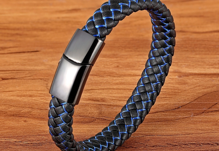 BLACK AND BLUE LEATHER BRACELET, 21CM - Marchand Watch Company