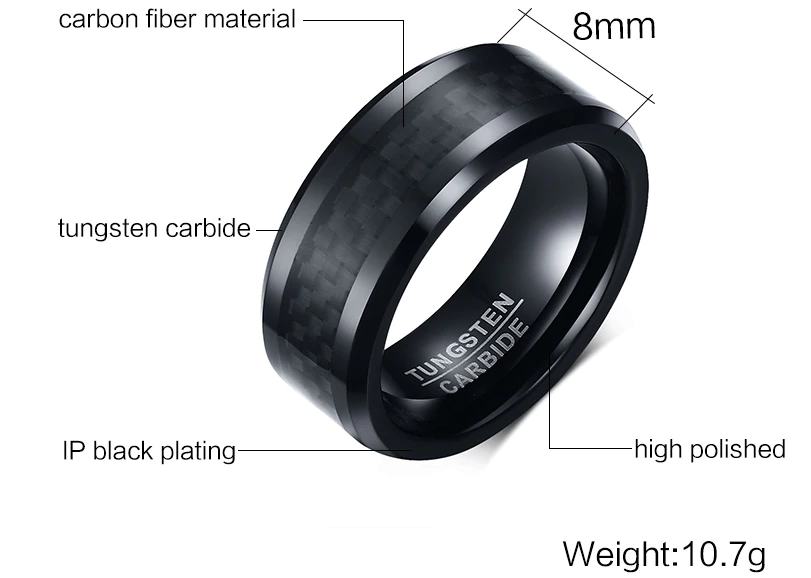 BLACK CARBON FIBRE TUNGSTEN CARBIDE RING FOR MEN