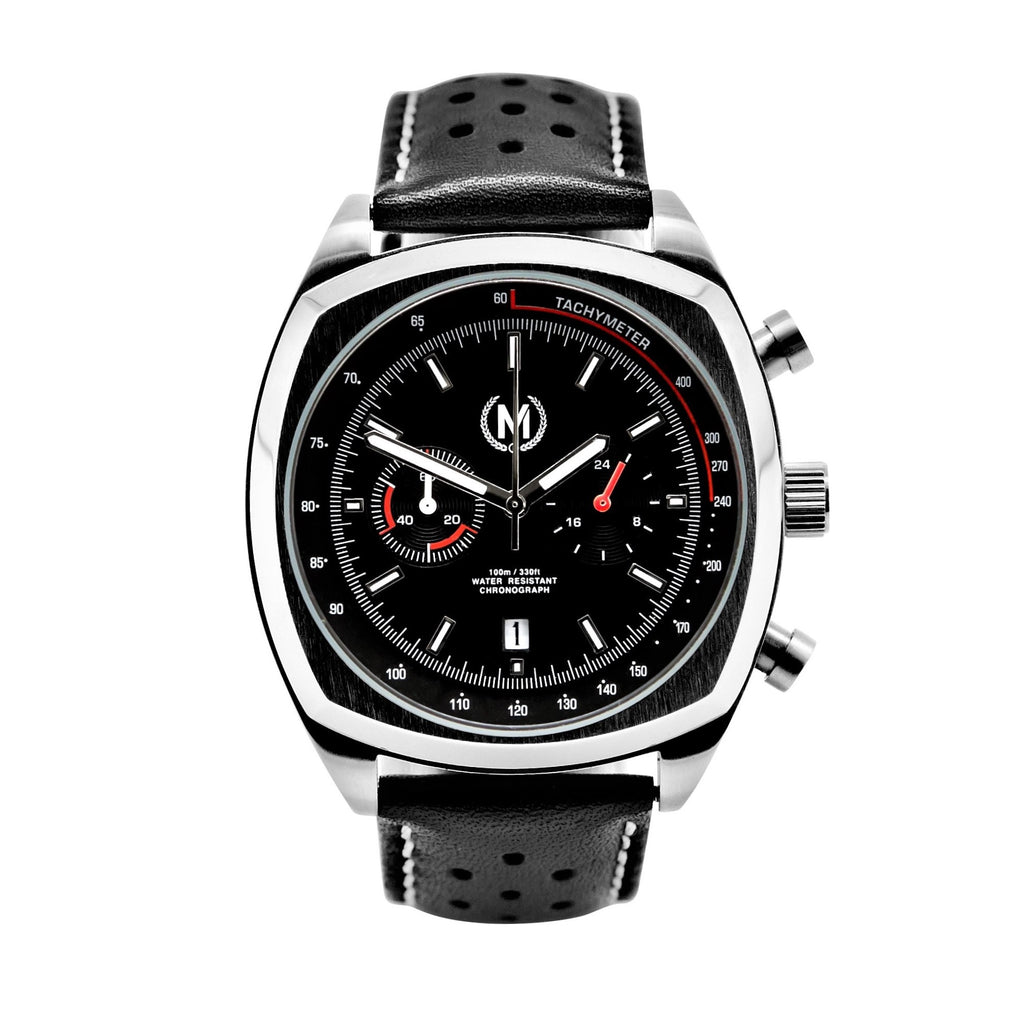 BLACK LEATHER RALLY WATCH STRAP - Marchand Watch Company