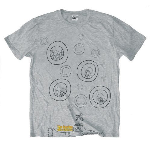 The Beatles Yellow Submarine Bubbles Grey Men's T-Shirt