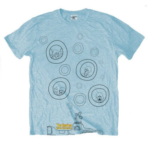 The Beatles Yellow Submarine Bubbles Blue Men's T-Shirt