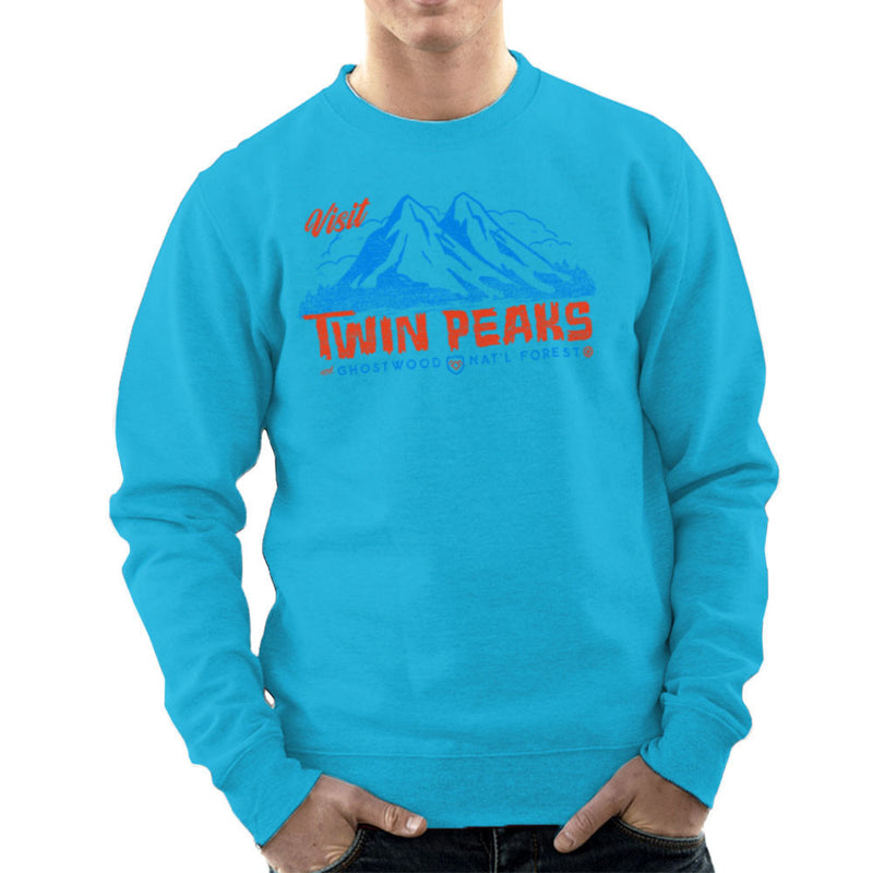 Visit Inspired By Twin Peaks and Ghostwood National Forest blue Men's Sweatshirt - NME Merch