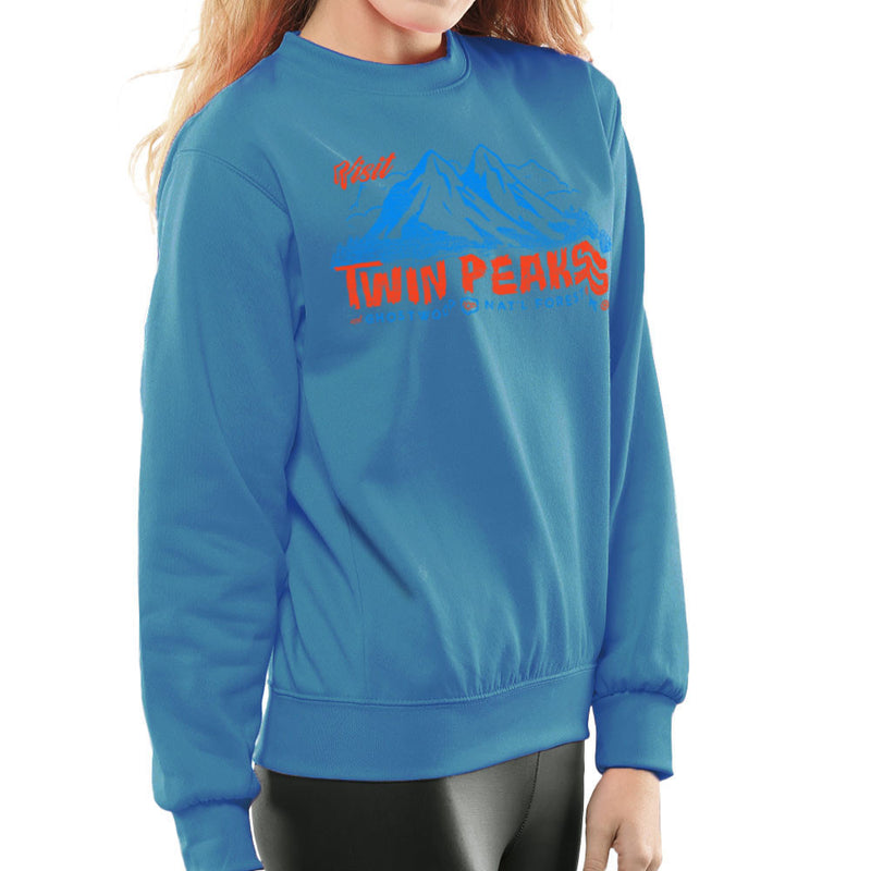 Visit Inspired By Twin Peaks and Ghostwood National Forest blue Women's Sweatshirt - NME Merch