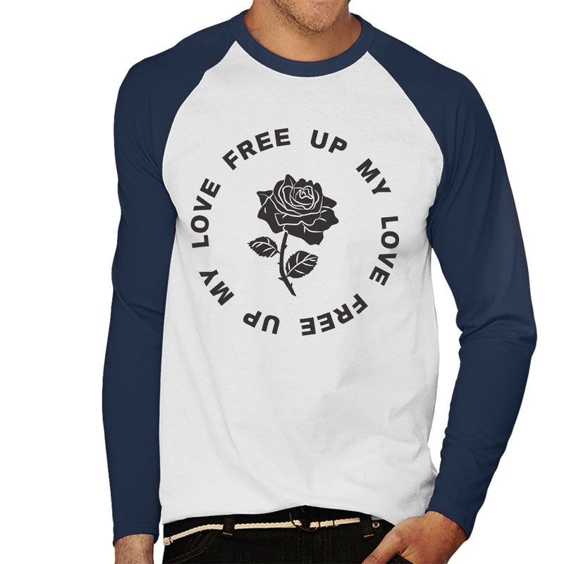 M.I.A. Free Up My Love Rose Black Men's Baseball Long Sleeved T-Shirt - NME Merch