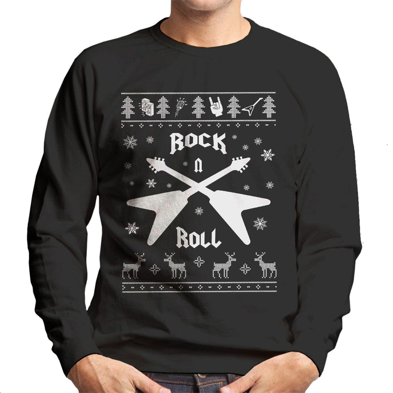 Rock And Roll Christmas Knit Men's Sweatshirt - NME Merch