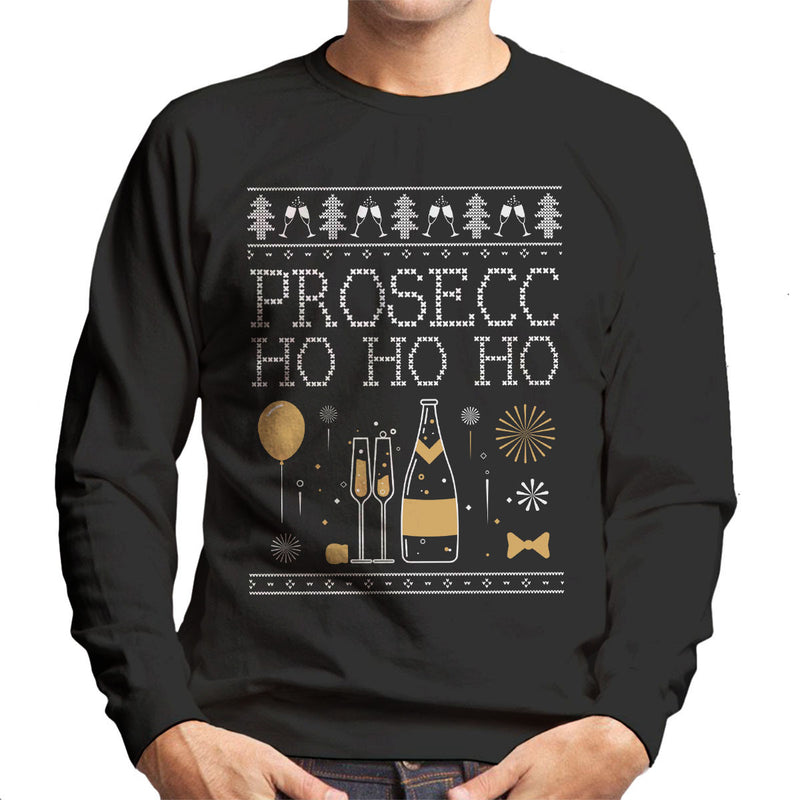 Prosecc Ho Ho Ho Christmas Knit Men's Sweatshirt
