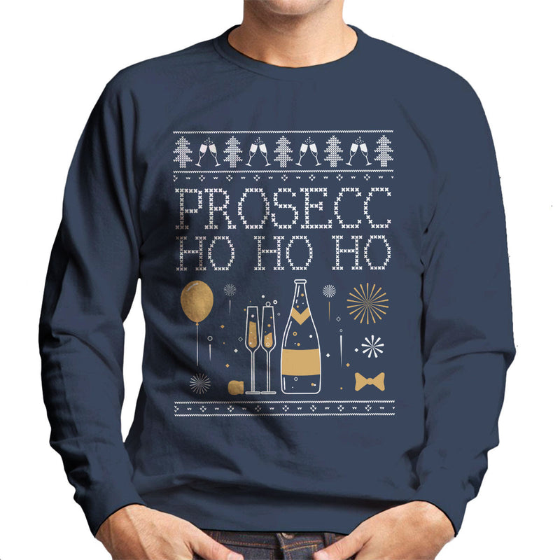 Prosecc Ho Ho Ho Christmas Knit Men's Sweatshirt - NME Merch