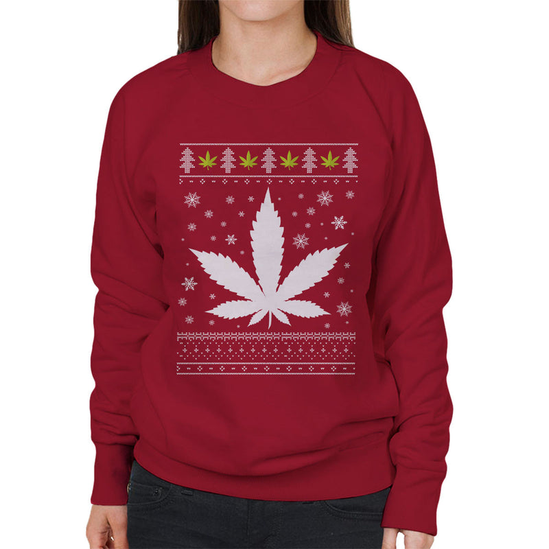 Christmas Weed Leaf Knit Parody Women's Sweatshirt - NME Merch