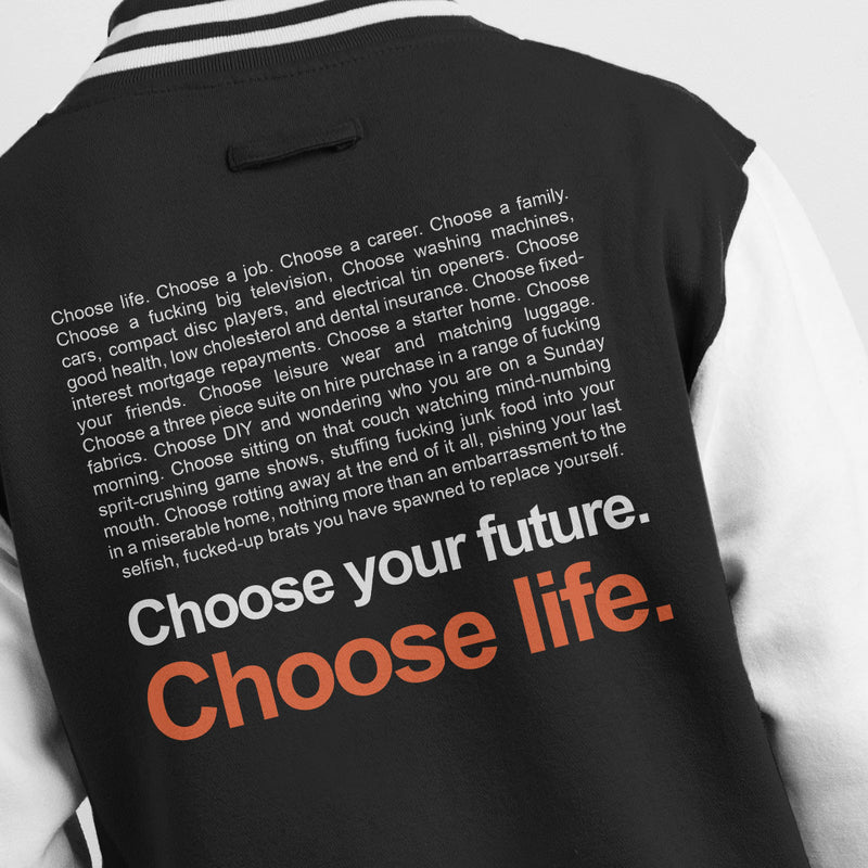 Trainspotting T2 Inspired Choose Life Quote Men's Varsity Jacket - NME Merch