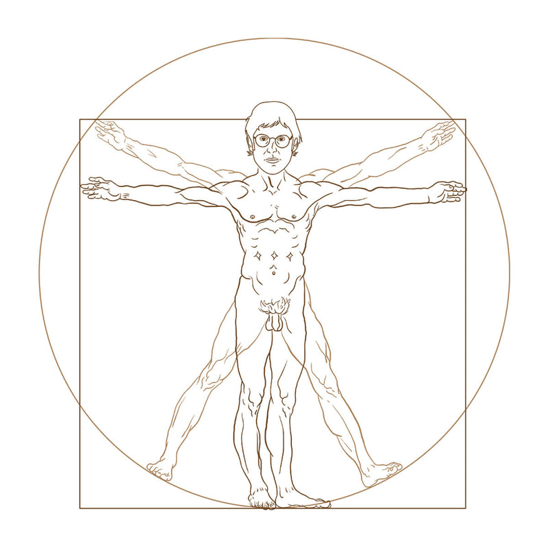 Louis Theroux Inspired Vitruvian Man Leonardo da Vinci Men's T-Shirt - NME Merch