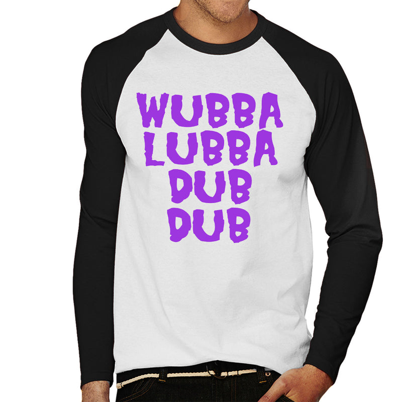 Rick and Morty Inspired Wubba Lubba Dub Dub Purple Men's Baseball Long Sleeved T-Shirt - NME Merch